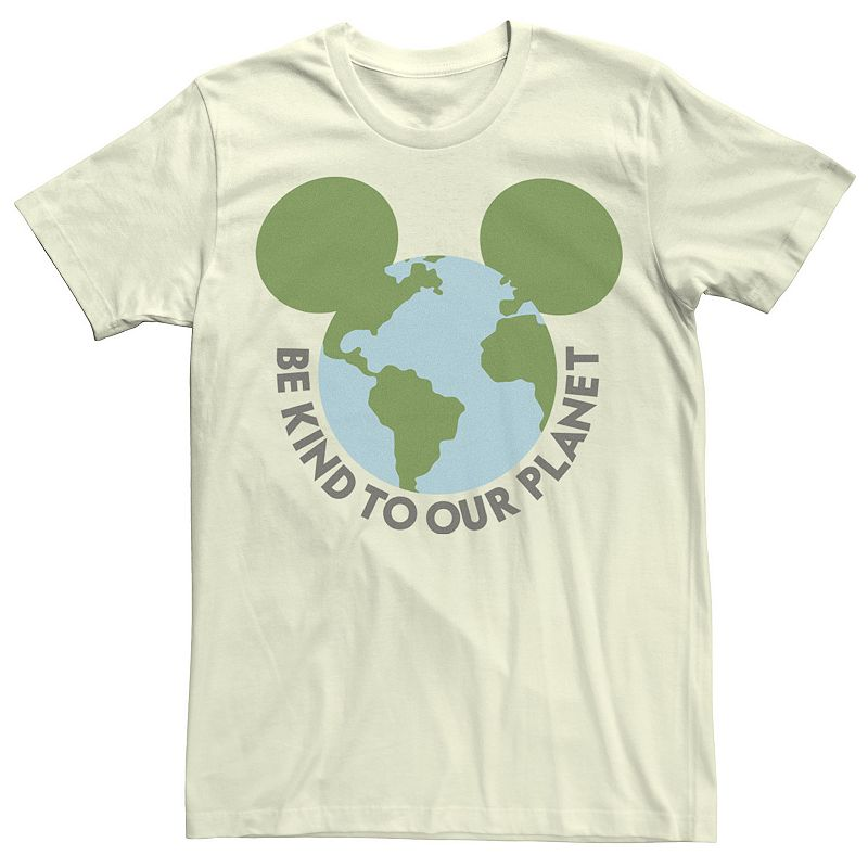 Men's Disney Mickey & Friends Mickey Be Kind To Our Planet Globe Tee, Size: Small, Natural