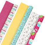 Hallmark All-Occasion Cupcakes, Polka-Dots, Stripes & Flowers Reversible Wrapping Paper Bundle