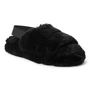 Women's Dearfoams Luna Fuzzy Slide Slippers with Elastic Strap