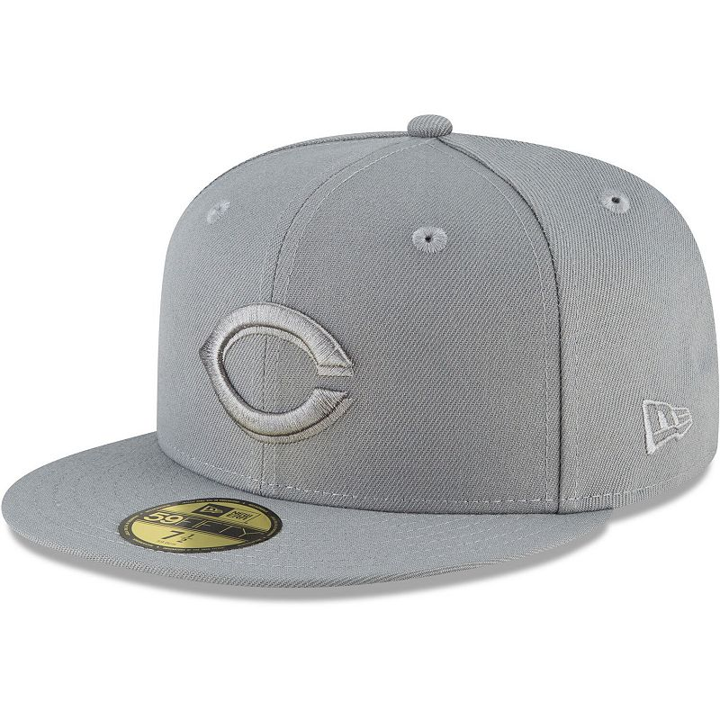 Men's New Era Gray Cincinnati Reds Storm Tonal 59FIFTY Fitted Hat, Size: 6 7/8, Grey