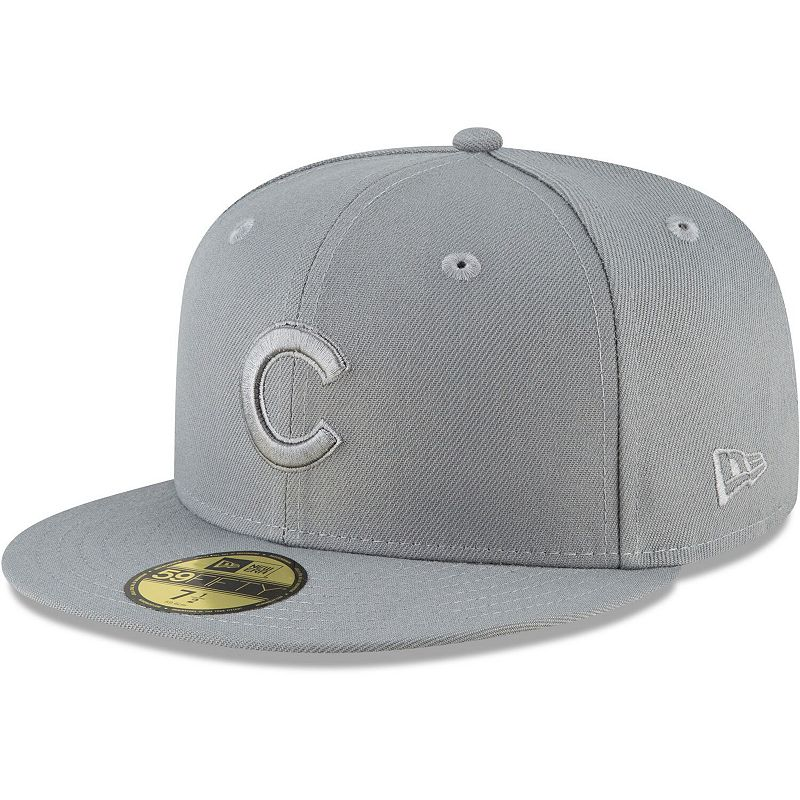 Men's New Era Gray Chicago Cubs Storm Tonal 59FIFTY Fitted Hat, Size: 7 3/8, Grey