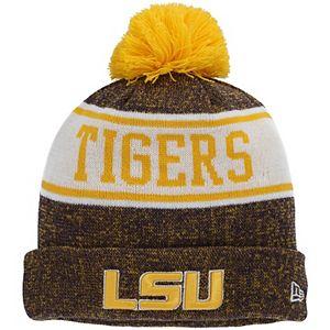 Youth New Era Purple LSU Tigers Banner Cuffed Pom Knit Hat