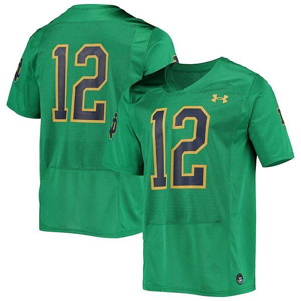 Men's Under Armour #12 Green Notre Dame Fighting Irish Logo Replica Football Jersey