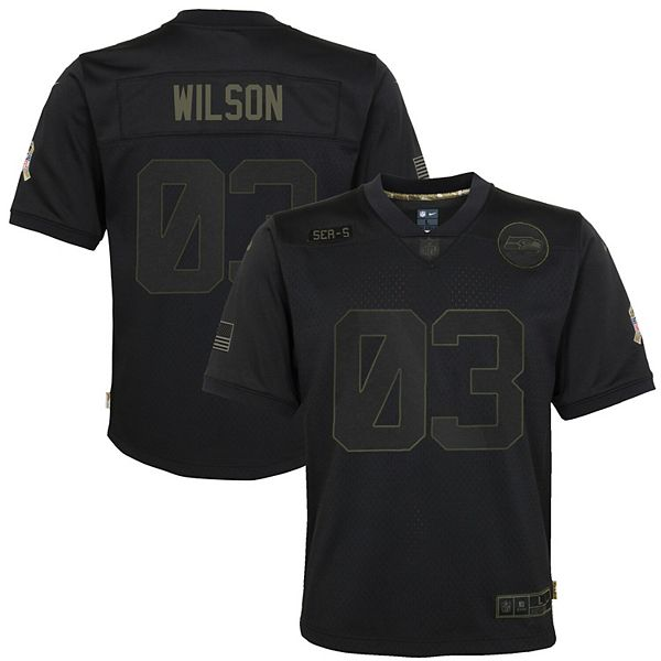 Youth Nike Russell Wilson Black Seattle Seahawks 2020 Salute to Service Game Jersey