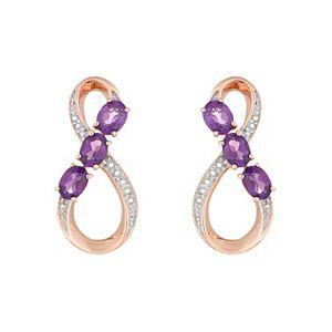 18k Rose Gold Plated Sterling Silver & Amethyst Figure-Eight Drop Earrings