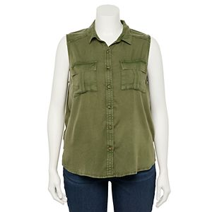 Juniors' Plus Size SO® Sleeveless Utility Tank Top