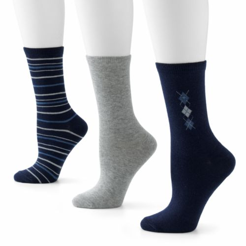 SONOMA life + style® 3-pk. Argyle and Dots Crew Socks