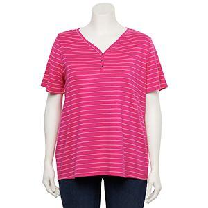 Plus Size Croft & Barrow® Henley Short Sleeve Top