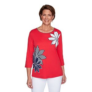 Petite Alfred Dunner Exploded Floral Stripe Applique Top