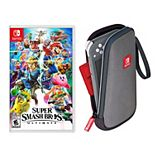 Super Smash Brothers Ultimate Game + Slim Case Bundle for Nintendo Switch Lite
