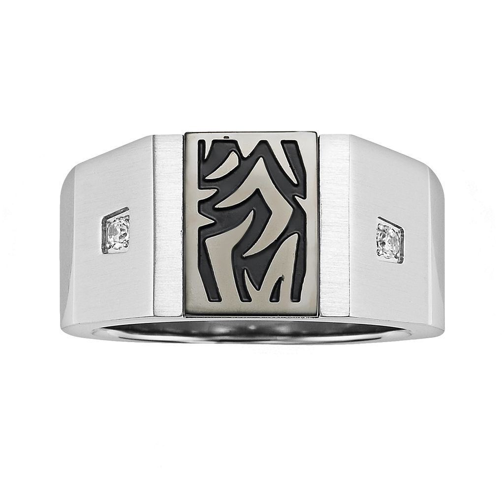 AXL by Triton™ Stainless Steel Diamond Accent Tattoo Ring - Men