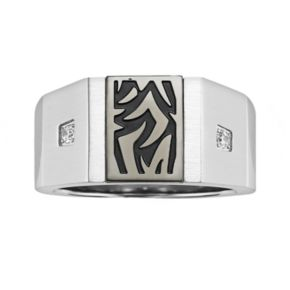 AXL by Triton Stainless Steel Diamond Accent Tattoo Ring - Men