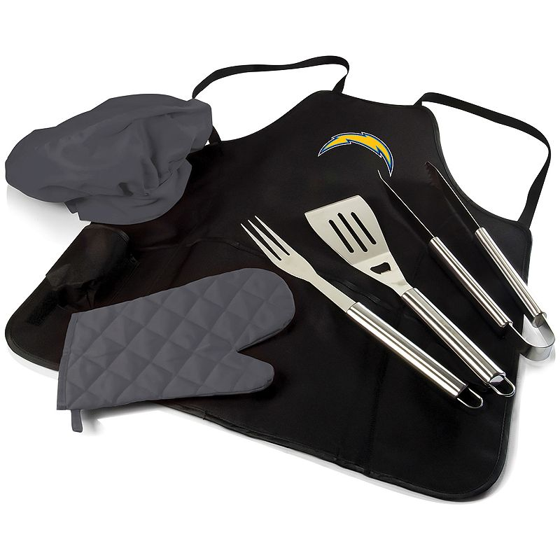 Picnic Time Los Angeles Chargers BBQ Apron, Utensil & Tote Pro Grill Set, Black