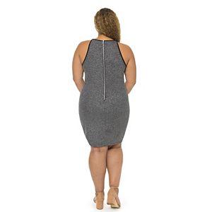 Juniors' Plus Size B. Smart Metallic Glitter Sleeveless Crewneck Bodycon Dress