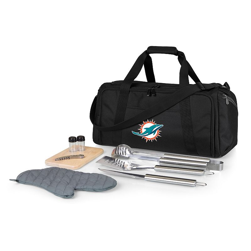 Picnic Time Miami Dolphins BBQ Grill Set & Cooler, Black