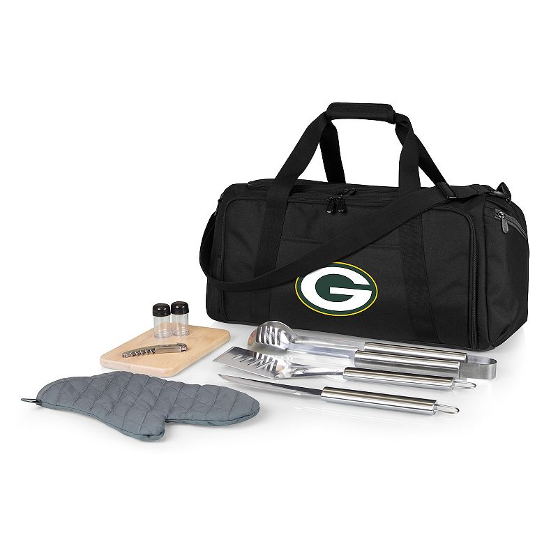 Picnic Time Green Bay Packers BBQ Grill Set & Cooler, Black