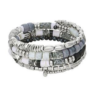 Sonoma Goods For Life® Silver Tone Multi-Color Beaded Coil Bracelet