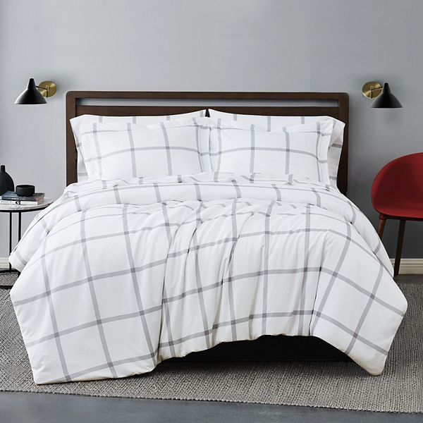 Truly Soft Printed Windowpane 2 Piece Duvet Cover Set
