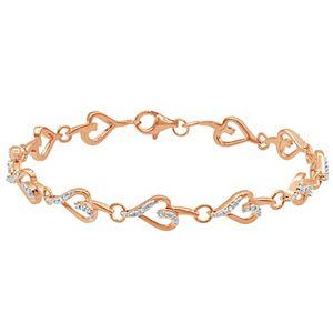 Sterling Silver Diamond Accent Heart Link Bracelet