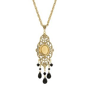 1928 Gold Tone Black Oval Cameo Locket Necklace