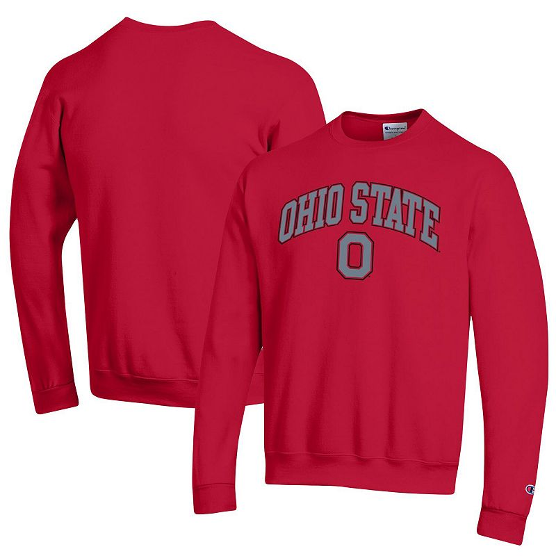 Men's Champion Scarlet Ohio State Buckeyes Campus Powerblend Pullover Sweatshirt, Size: Small, Red
