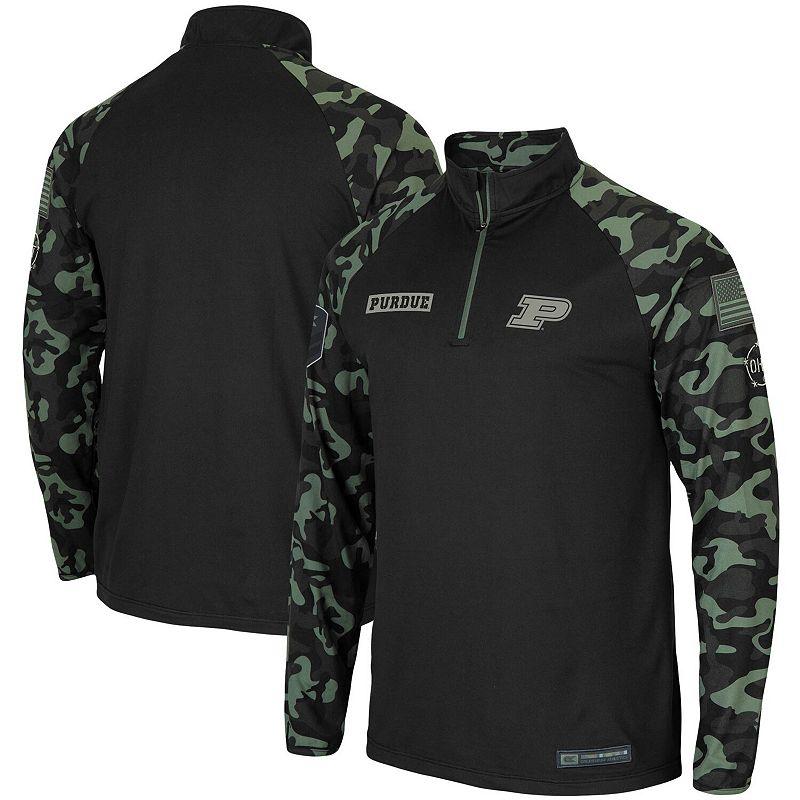 Men's Colosseum Black Purdue Boilermakers OHT Military Appreciation Take Flight Raglan Quarter-Zip Jacket, Size: 2XL