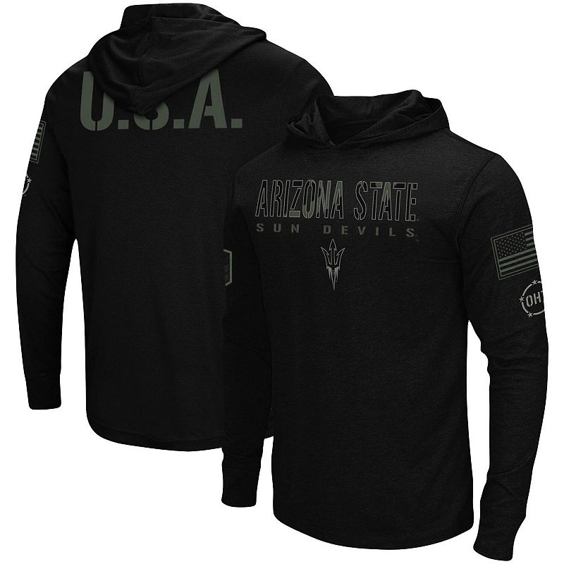 Men's Colosseum Black Arizona State Sun Devils OHT Military Appreciation Hoodie Long Sleeve T-Shirt, Size: 3XL