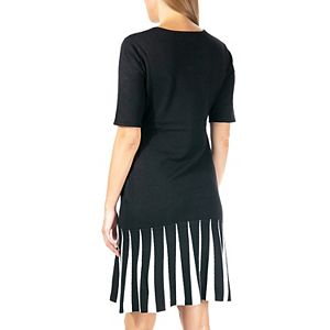 Women's Nina Leonard Godet A-Line Sweater Dress