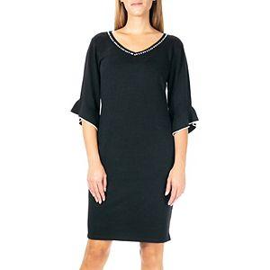Plus Size Nina Leonard Embellished Ruffle-Sleeve Sweater Dress
