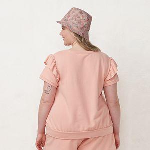 Plus Size LC Lauren Conrad Ruffled Balloon-Sleeve Terry Top