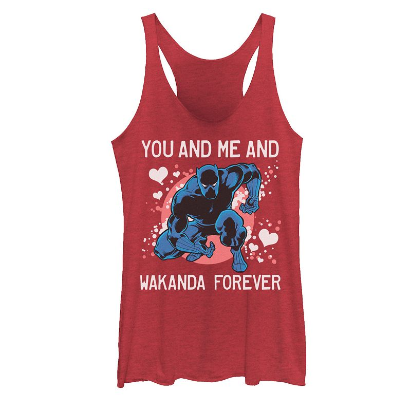 Juniors' Marvel Black Panther You And Me And Wakanda Forever Valentine's Tank Top, Girl's, Size: XXL, Red