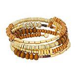 Sonoma Goods For Life® Gold Tone & Wood Beaded Coil Bracelet