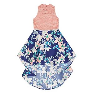 Girls 7-16 Speechless Lace to Floral High Low Dress