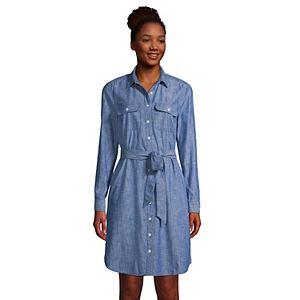 Petite Lands' End Long-Sleeved Shirt Dress