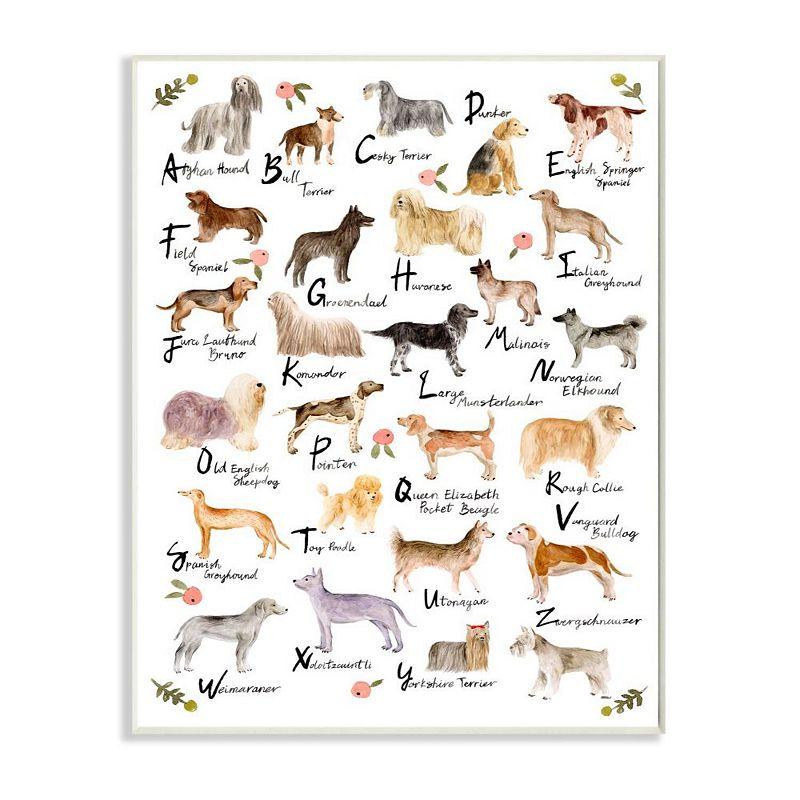 Stupell Home Decor Alphabet of Dogs Plaque Wall Art, White, 10X15