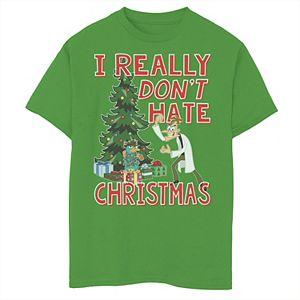 Disney's Phineas & Ferb Boys 8-20 DOOF Christmas Quote Graphic Tee