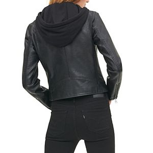 Women's Levi's® Classic Faux Leather Motorcycle Jacket with Jersey Hood