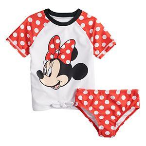 Disney's Minnie Mouse 2-Piece Rash Guard Swimsuit