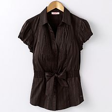 Candie's Dobby-Striped Pintuck Shirt