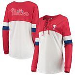Women's New Era White/Red Philadelphia Phillies Lace-Up Long Sleeve T-Shirt