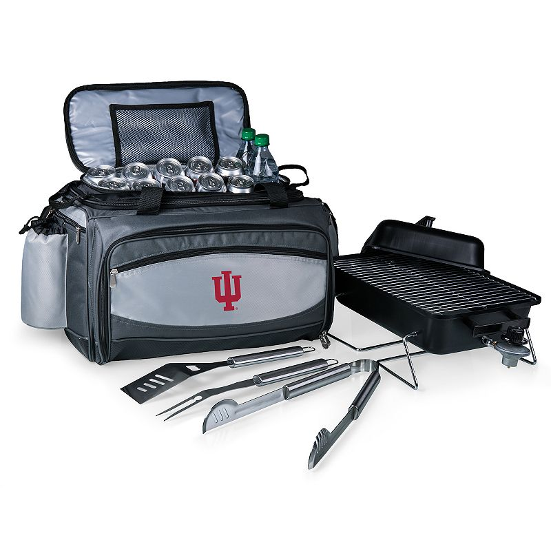 Picnic Time Indiana Hoosiers Vulcan Portable Propane Grill & Cooler Tote, Black
