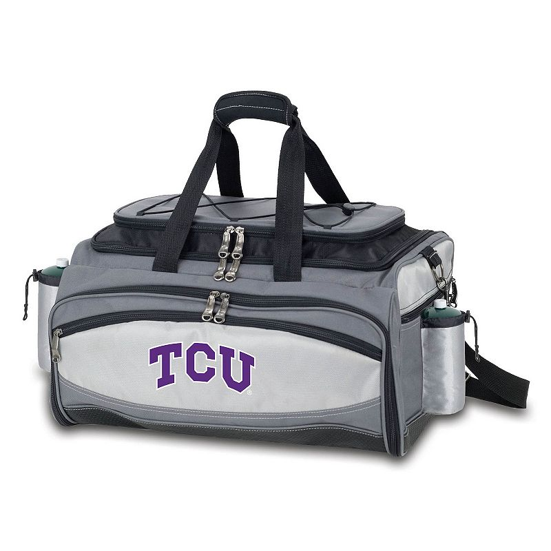 Picnic Time TCU Horned Frogs Vulcan Portable Propane Grill & Cooler Tote, Black