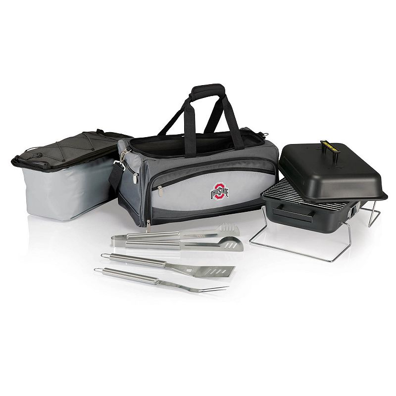 Picnic Time Ohio State Buckeyes Portable Propane Grill & Cooler Tote, Black