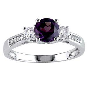 Stella Grace 10k White Gold Lab-Created Alexandrite, Lab-Created White Sapphire & Diamond Accent 3-Stone Engagement Ring
