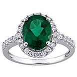 Stella Grace 10k White Gold Lab-Created Emerald & Lab-Created White Sapphire Halo Engagement Ring