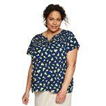 Plus Size Croft & Barrow® Short Sleeve Smocked Yoke Blouse