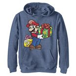 Boys 8-20 Nintendo Super Mario Wrapped Christmas Presents Graphic Fleece Hoodie