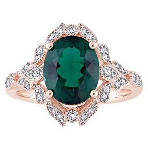 Stella Grace 10k Rose Gold Lab-Created Emerald & 1/5 Carat T.W Diamond Vintage Cocktail Ring