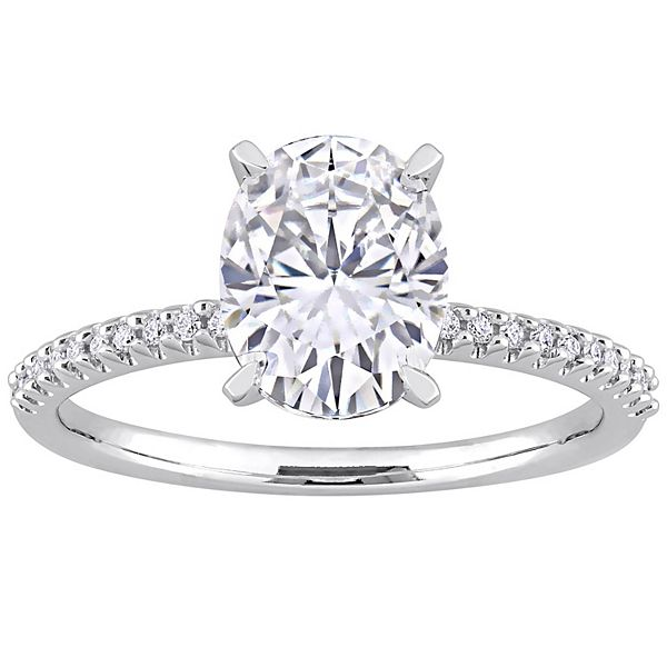 Stella Grace 14k White Gold 1/10 Carat T.W Diamond & Lab-Created White Sapphire Engagement Ring - 14k White Gold (6)