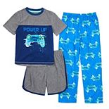 Boys 4-16 Cuddl Duds Power Up Video Games Top, Shorts & Pants Pajama Set